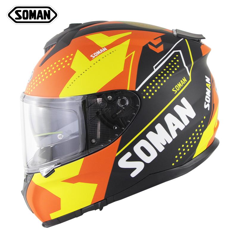 Motorcycle Racing Helmet Men And Women Outdoor Riding Double Lens Full Face Helmet Ece Standard Speed No. 1-Matte Black Orange Yellow_L