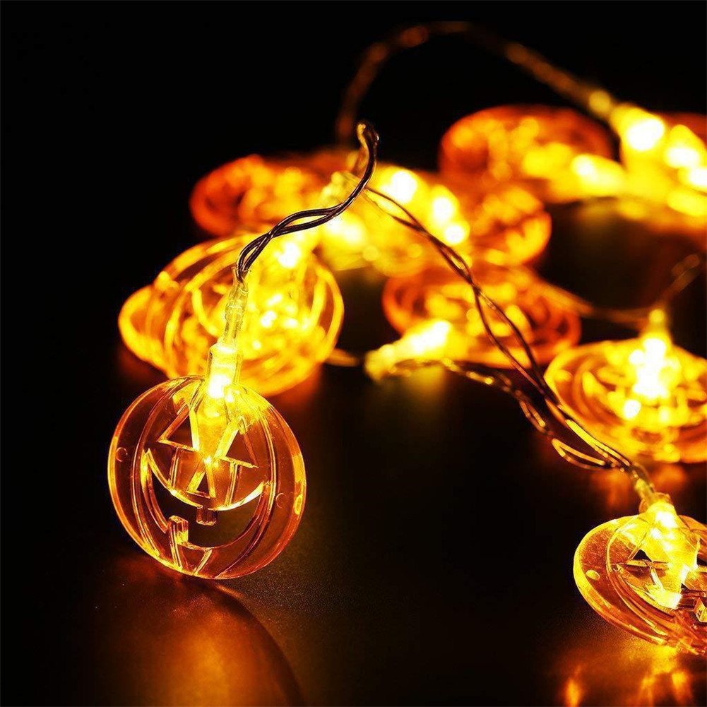 1 String Pumpkin  Lamp  String For Halloween Thanksgiving Decoration Light Strip Flat pumpkin_1.5m 10 lights-always on