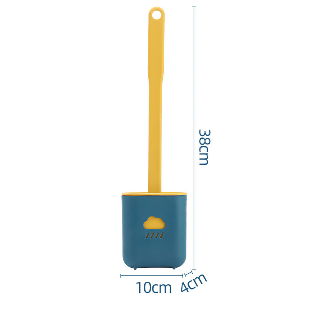 Toilet  Brush Cloud Shape Soft Cleaning Brush Bathroom Soft Rubber Brush With Long Handle Green_Ground placing