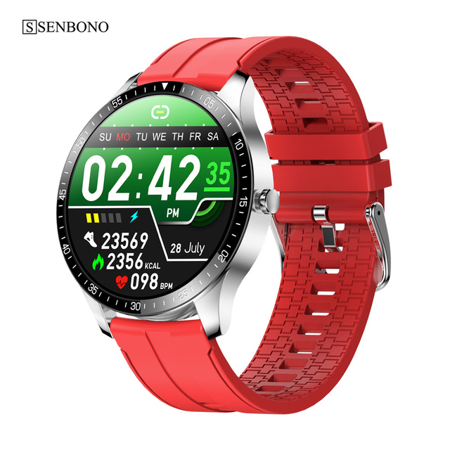 S80 Smart  Watch 1.28 Inch 240*240 Resolution Ratio 200mah Health Sports Watch Red rubber