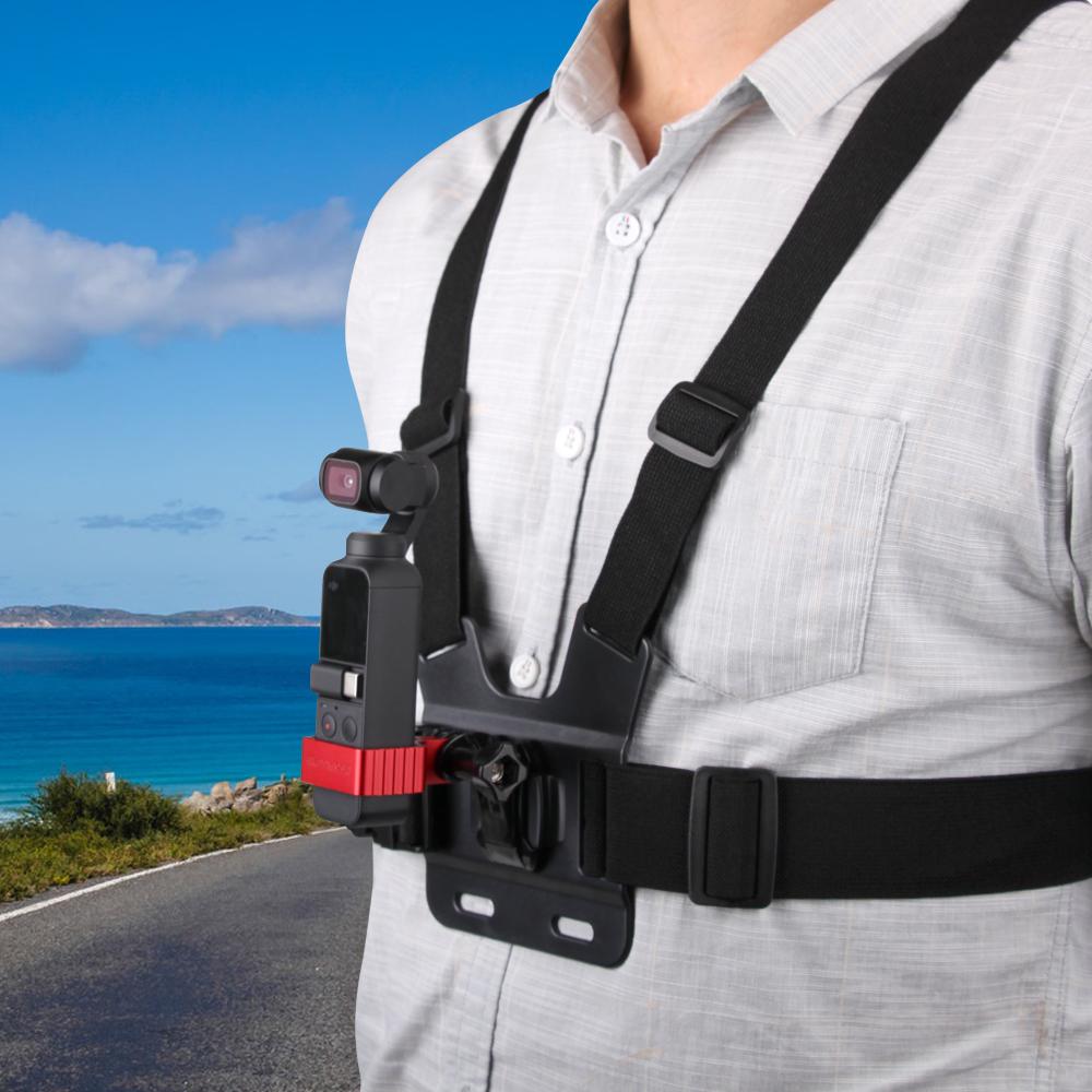 Camera Chest Strap Belt Mount Strap+Adapter for DJI OSMO POCKET GOPRO Camera black