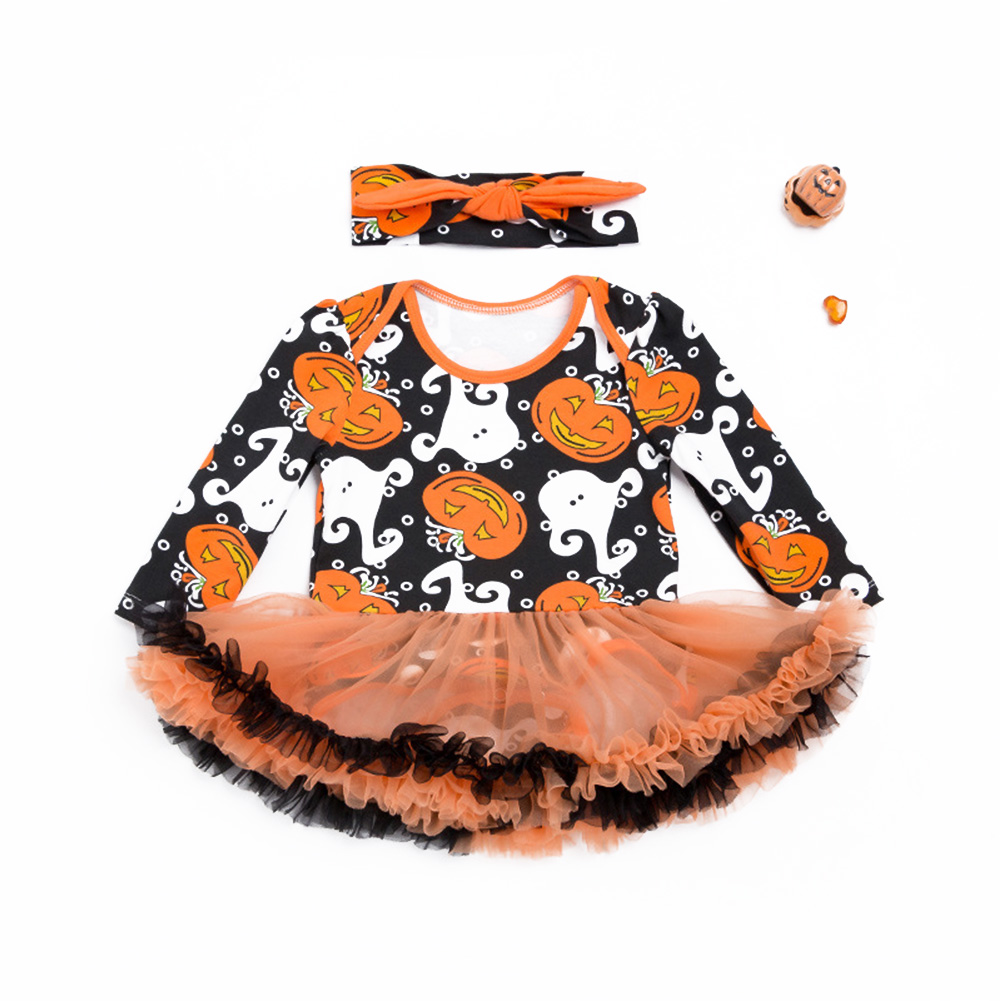 Girl Baby Romper Infant Creeping Conjoined Clothes Open Crotch Jumpsuit Cute Halloween Baby Princess Yarn Skirt Overalls Costume with Bowknot Head Band