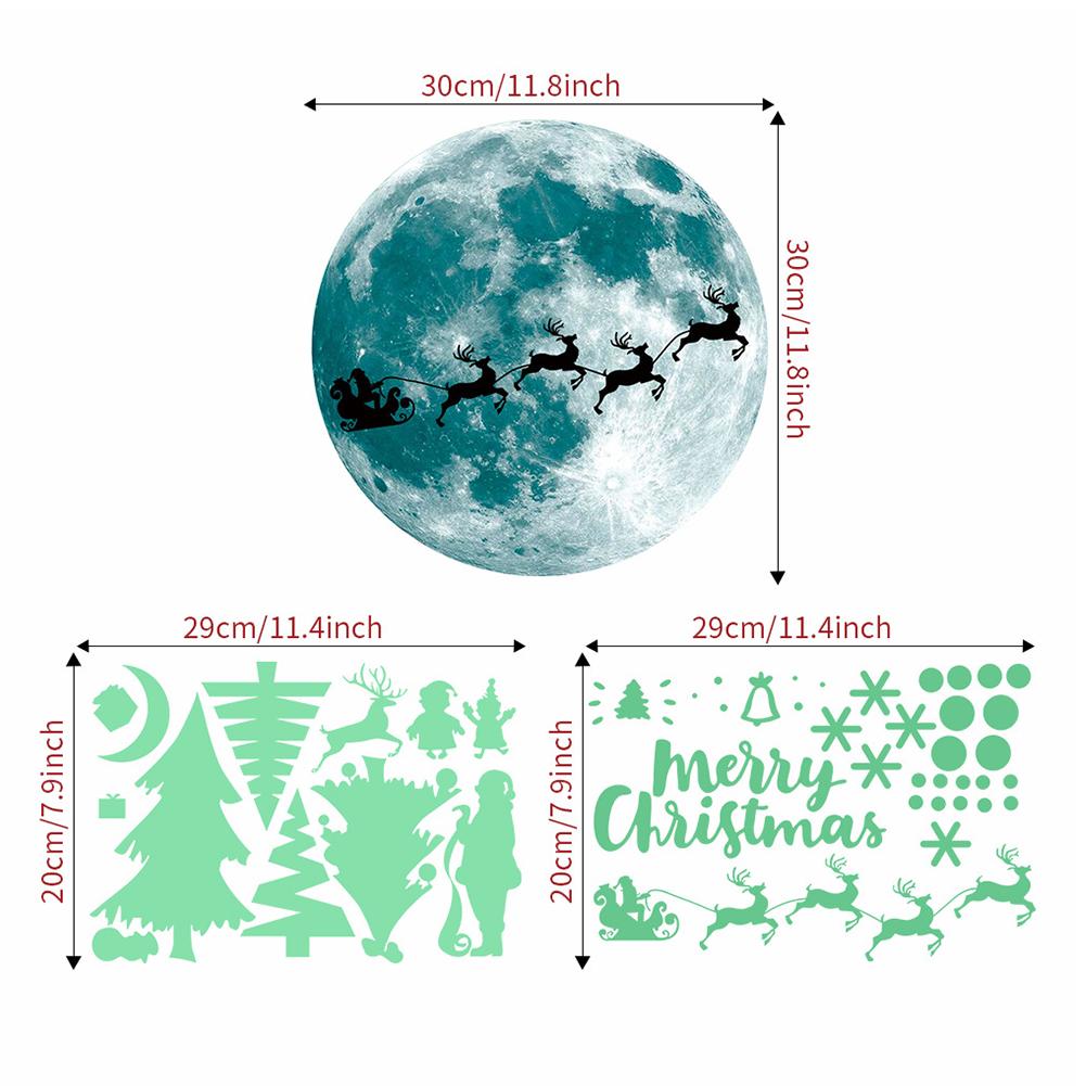 Luminous Christmas Xmas Tree Elk Glass Window Door Background Wall Decoration Sticker Decal AFG3328