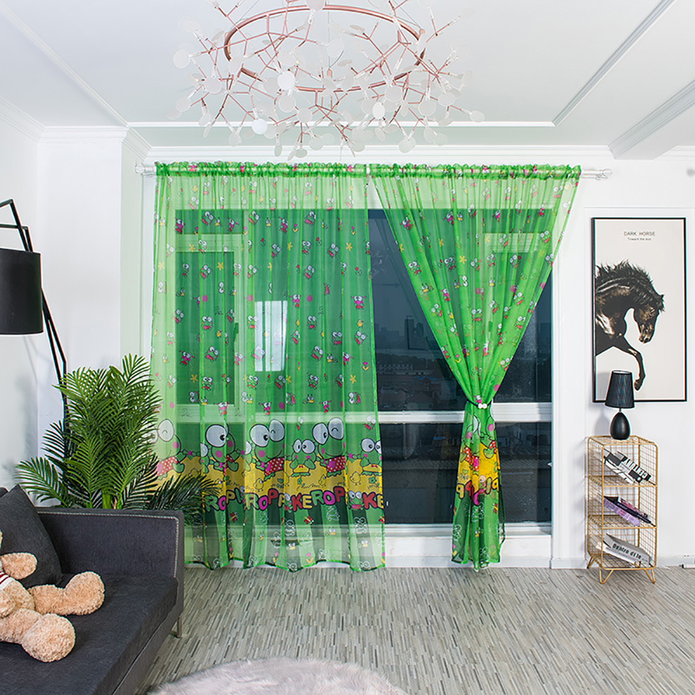 Cartoon Printing Curtain Tulle Breathable Drapes for Home Living Room Balcony Decoration 1.5 * 2.7 meters high