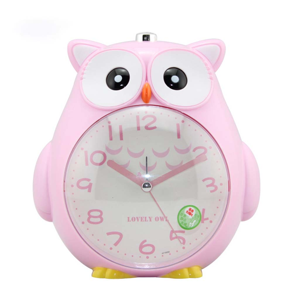 4 Inches Cute Cartoon Owl Shape Alarm Clock Silent Night Light Student Kids Alarm Clock Pink