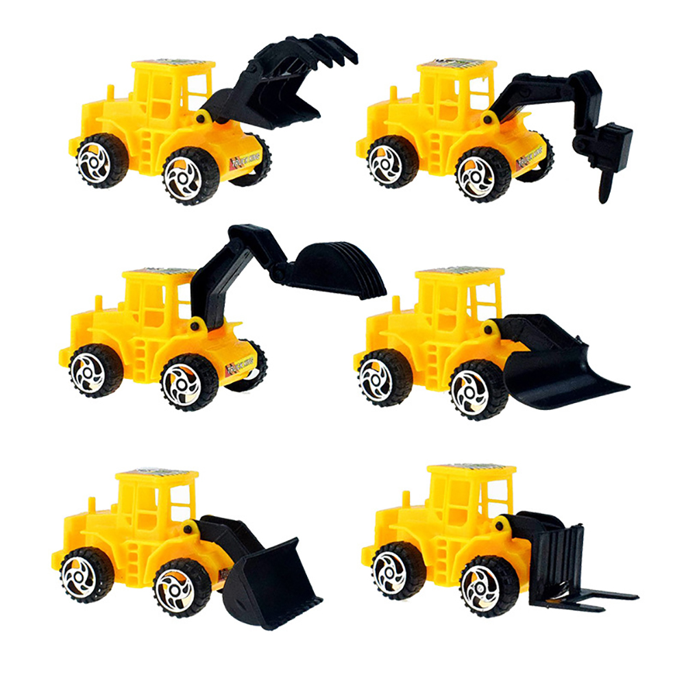 6Pcs/Set Plastic Yellow Taxiing Engineering Vehicle Forklift Bulldozer Drilling Truck Forklift Models Toy for Children 6pcs/set engineering vehicle mould