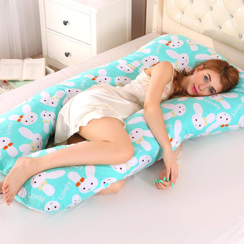 Multi-functional Pillow for Pregnant Women Side Pillow Cotton U-shaped Nap Pillow Cushion Bunny_70*130