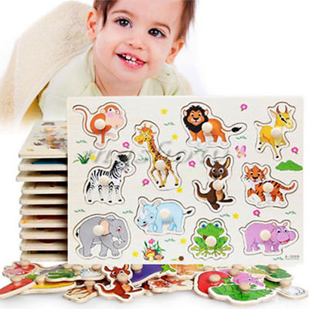 Wooden Matching Peg Puzzle Zoo Animals Jigsaw Puzzles Early Educational Toys Gift for Toddlers