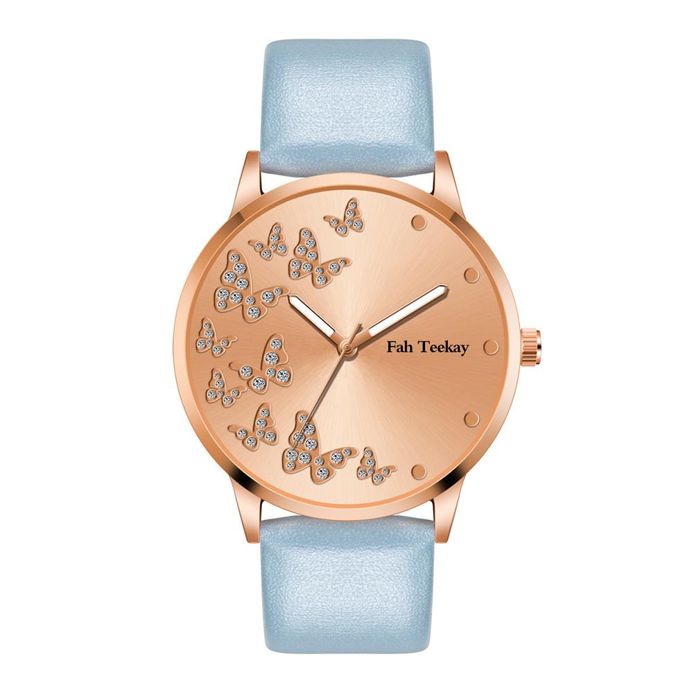 Female Fashion Wrist Watch Inlaid Butterfly Diamond Alloy Wristband Wrist Watch  Light blue