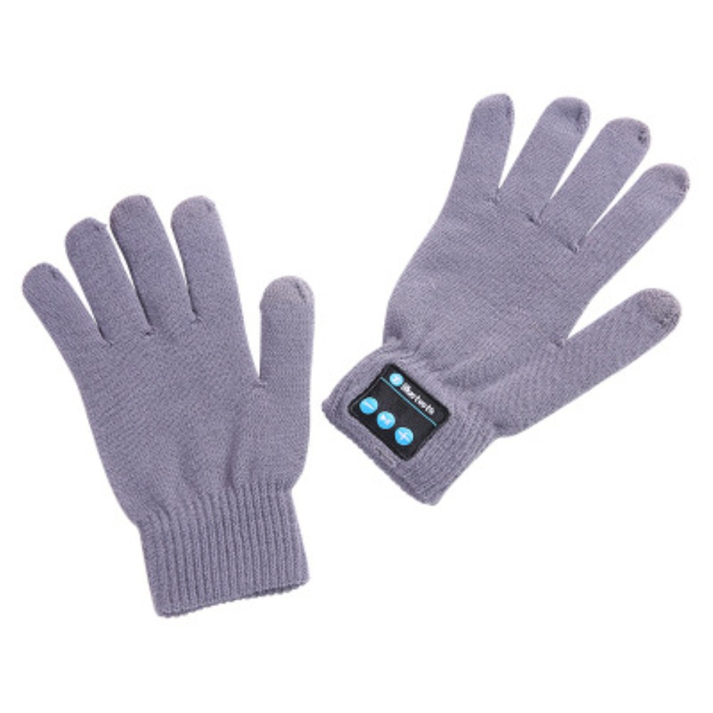 V5.0 Wireless Bluetooth Knit Music Call Touch Screen Gloves ST-gray