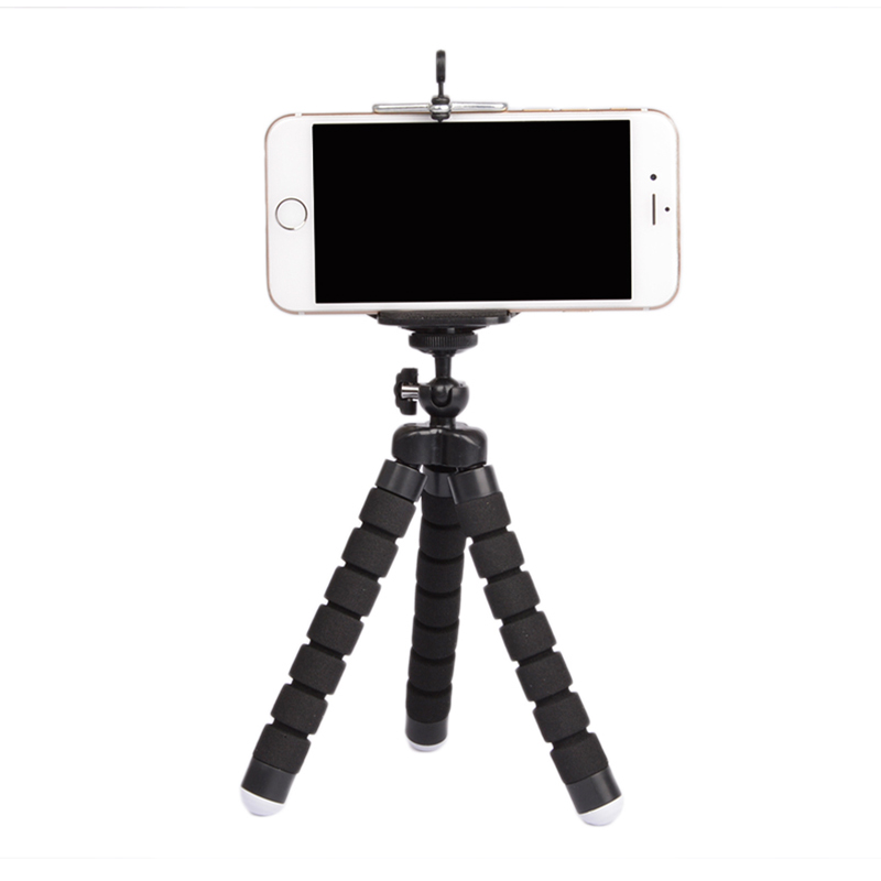 Flexible Portable Adjustable Tripod Mini Universal Octopus Leg Style Bluetooth Selfie Stick  black_With Bluetooth remote control