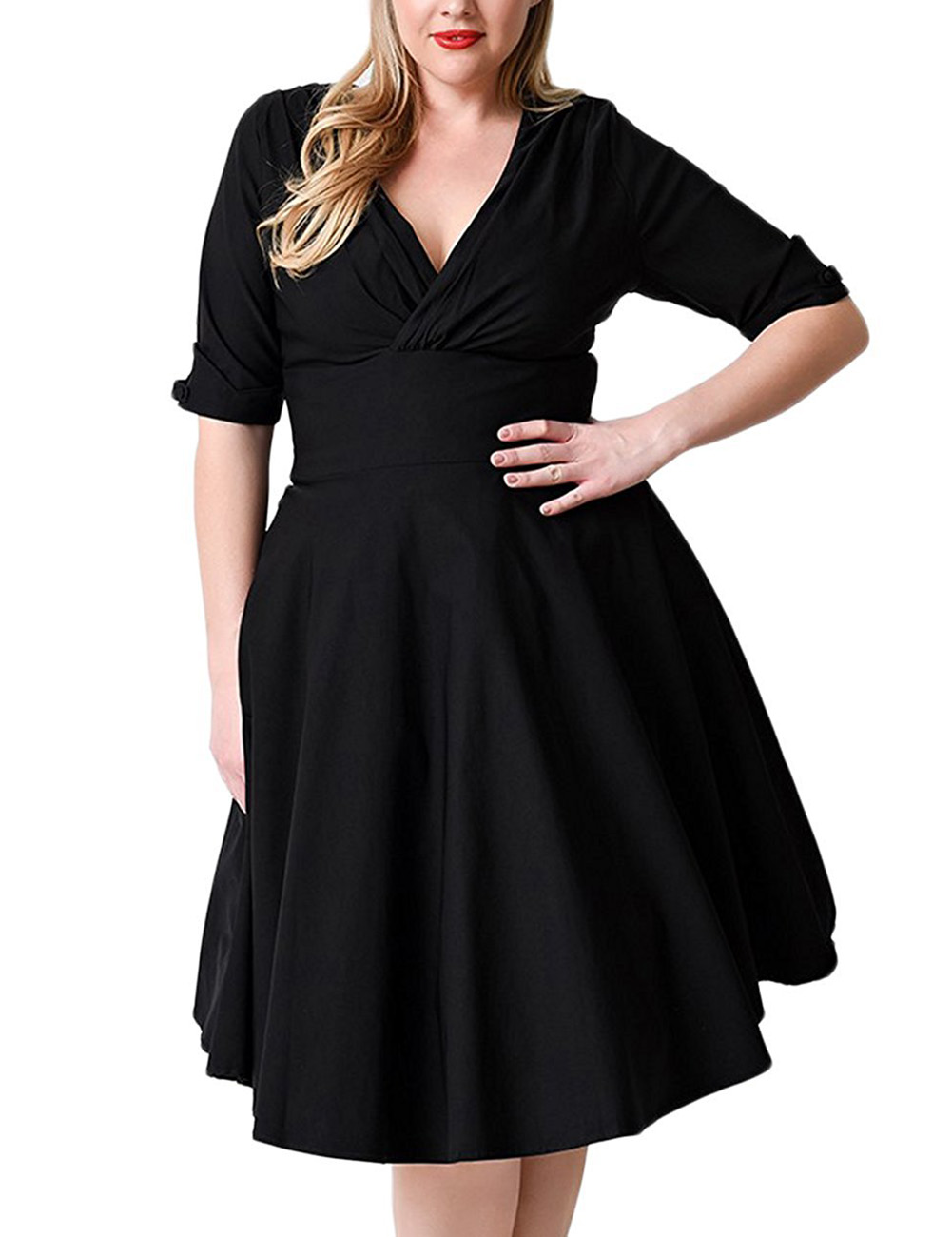 AMZ PLUS Large Size Ruffles V-neck Empire Waist A-line Swing Dress