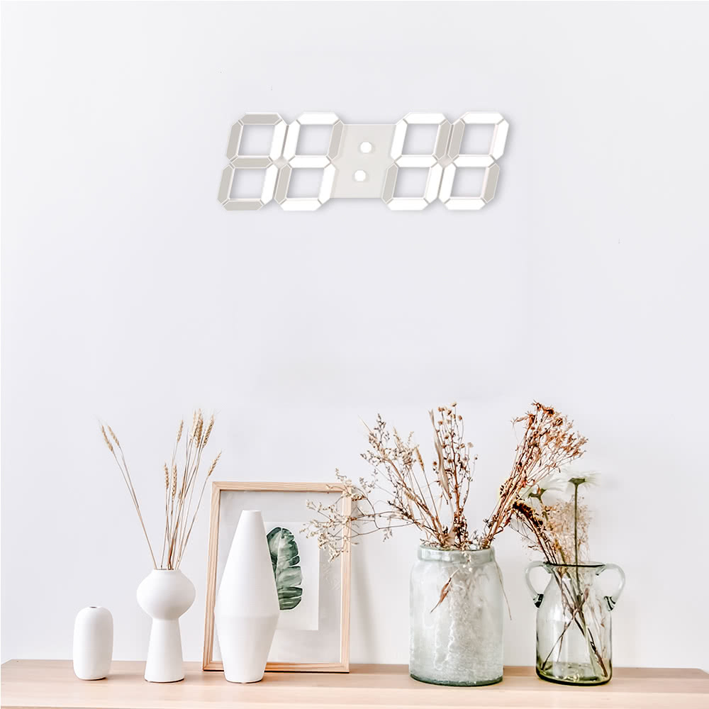 LED 3D White Digital Wall Clock with Remote Control European Regulation