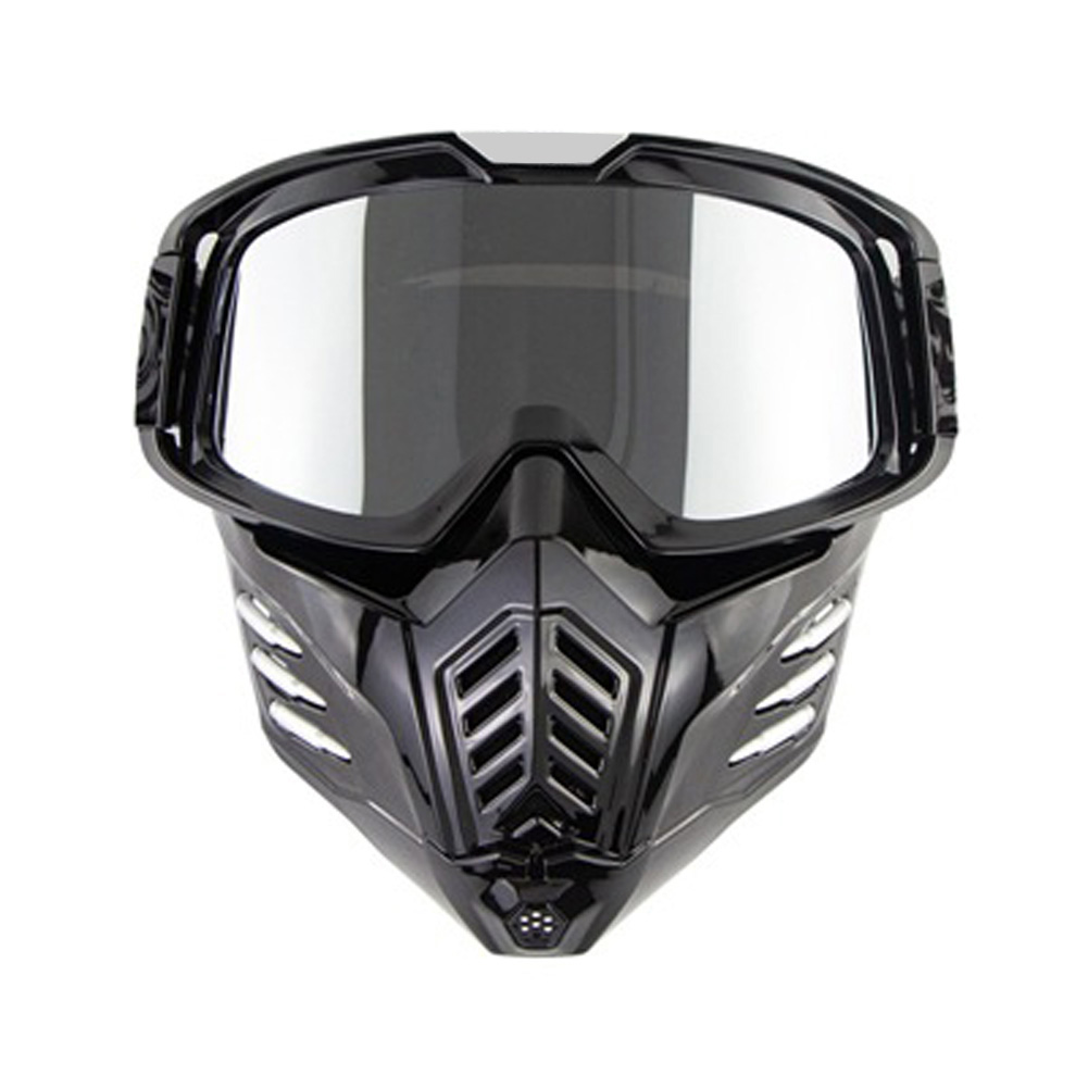 Motorcycle Mask Men Women Ski Snowboard Goggles Winter Off-road Riding Glasses Gloss Black Silver Plated