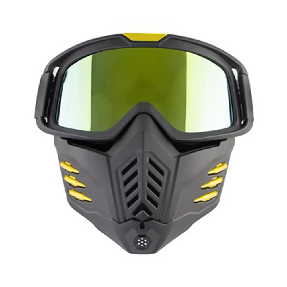 Motorcycle Mask Men Women Ski Snowboard Goggles Winter Off-road Riding Glasses Matt Black Gold