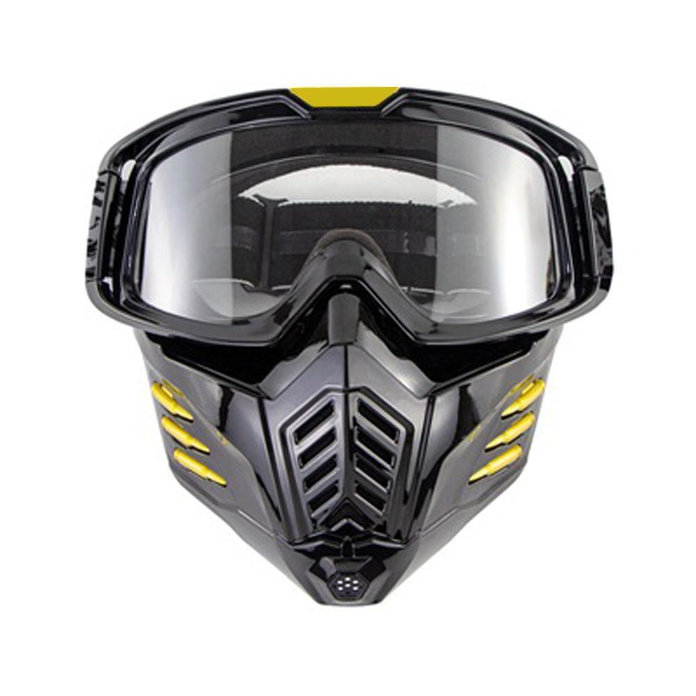 Motorcycle Mask Men Women Ski Snowboard Goggles Winter Off-road Riding Glasses Brilliant black transparent film