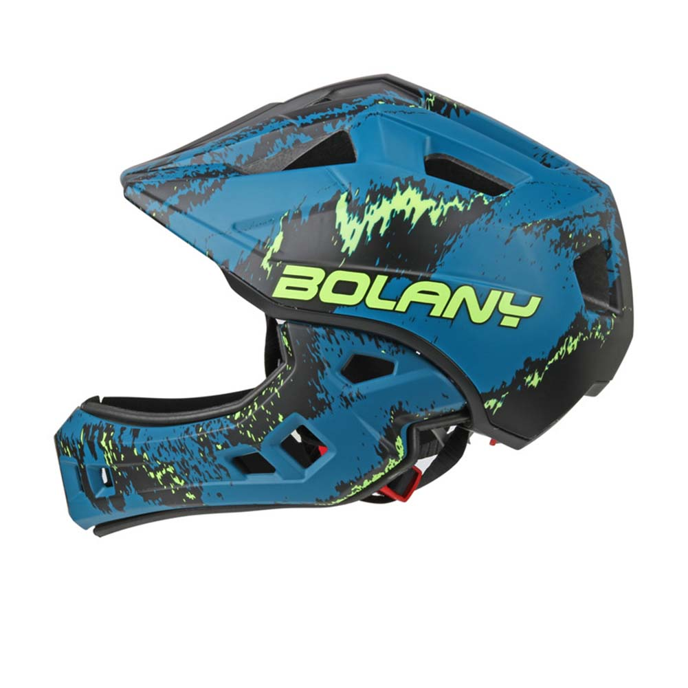 Bolany Children's Helmets Full Covered Balance Bike Motocross Downhill Racing Kid Safety Integrally-molded Helmet Navy blue_Free size