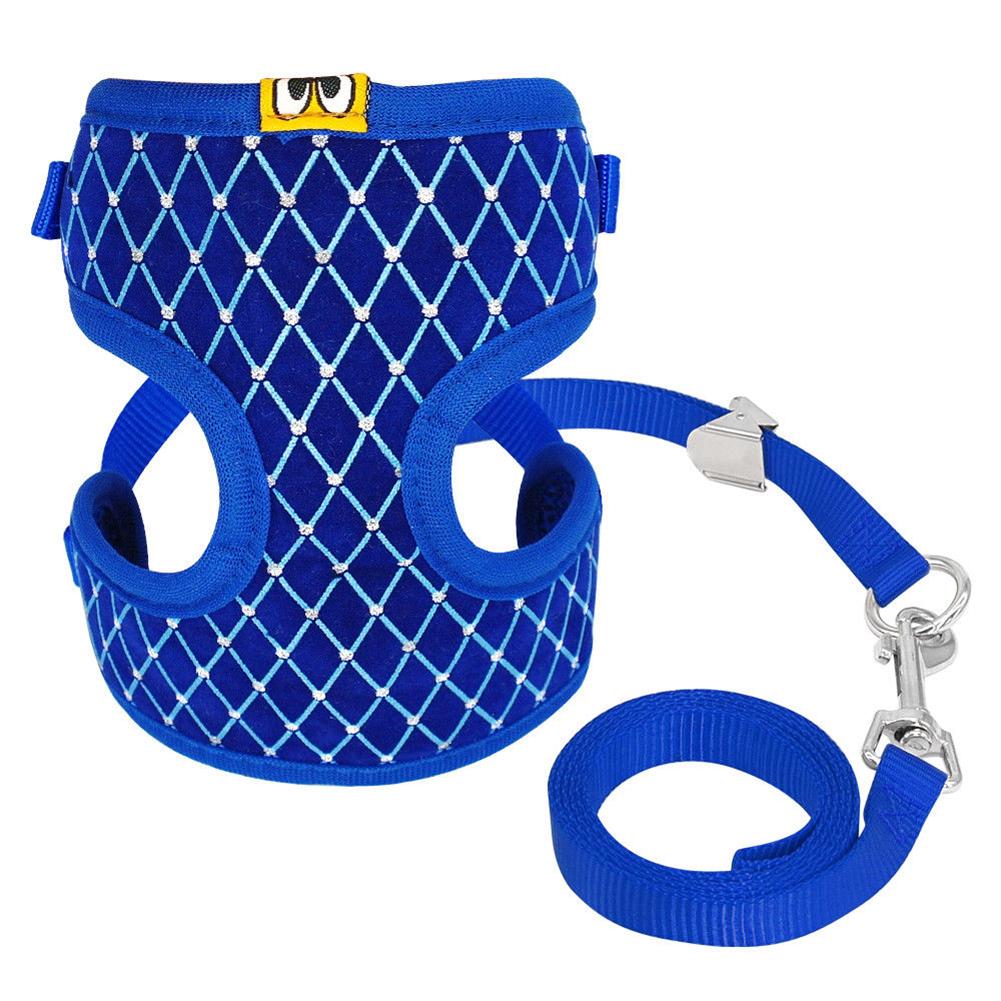 Exquisite Dog Chest Leash Traction Belt Pet Harness Straps for Small Dogs Cats (L) blue_L- Bust 32cm-48cm