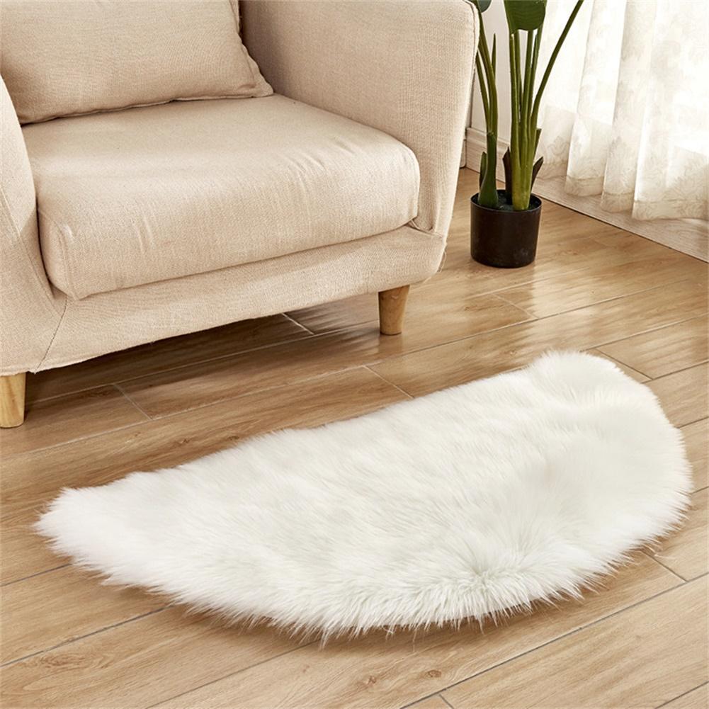 Semi-circle Plush Round Area Rugs for Kids Girls Room Carpet Nursery Rug Bedroom Living Room Floor Carpet  white_30*60cm