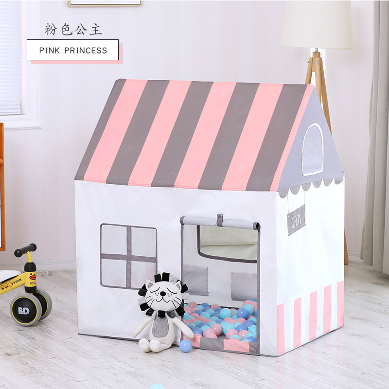 Folding House Peach Suede Oil Painting Children Princess Tent Indoor Marine Ball Game Toy Pink