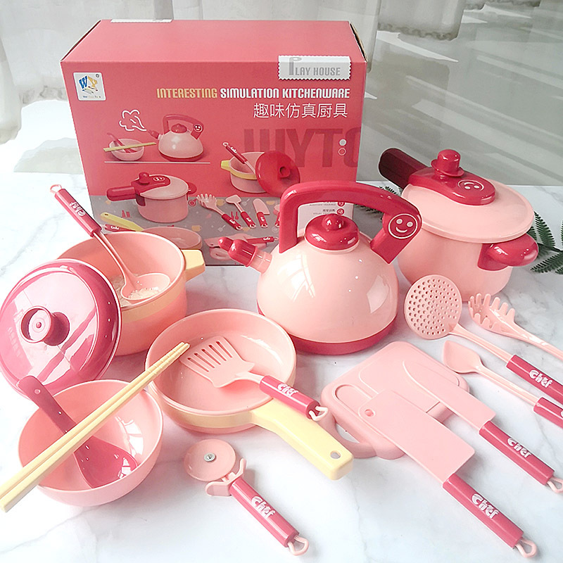 16Pcs Simulation Kitchen Cutlery Set Children Early Educational Toy pink