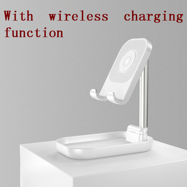 Adjustable Desk Phone Stand 10W Fast Wireless Charge Holder Plastic Retractable Portable Lazy Bracket For IPhone IPad white