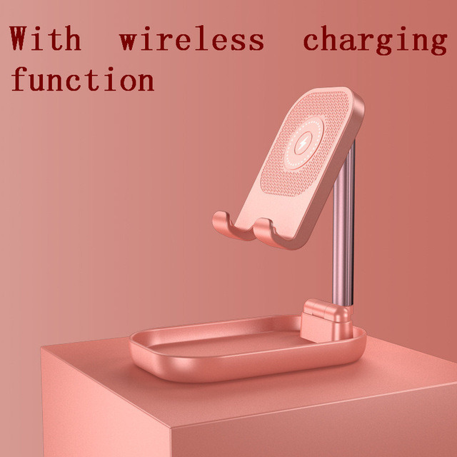 Adjustable Desk Phone Stand 10W Fast Wireless Charge Holder Plastic Retractable Portable Lazy Bracket For IPhone IPad Pink