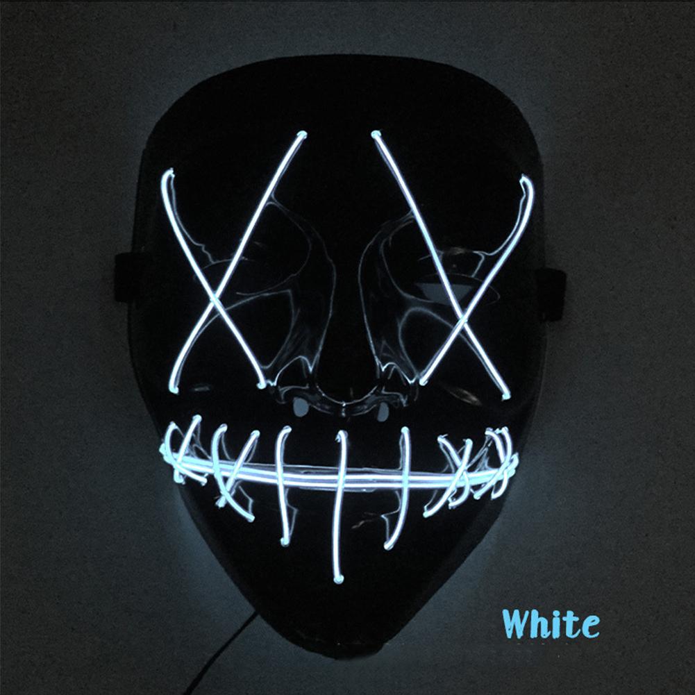 Scary Halloween Mask LED Light Up V-shape Face Mask for Festival Cosplay Costume White