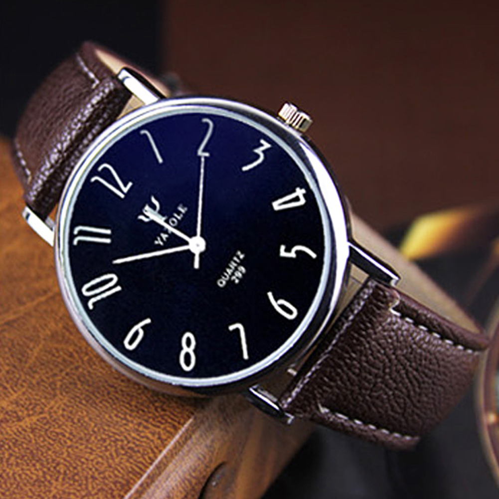 Unisex Casual Business Style Leather Strap Waterproof Classic Watch Large brown dial black belt