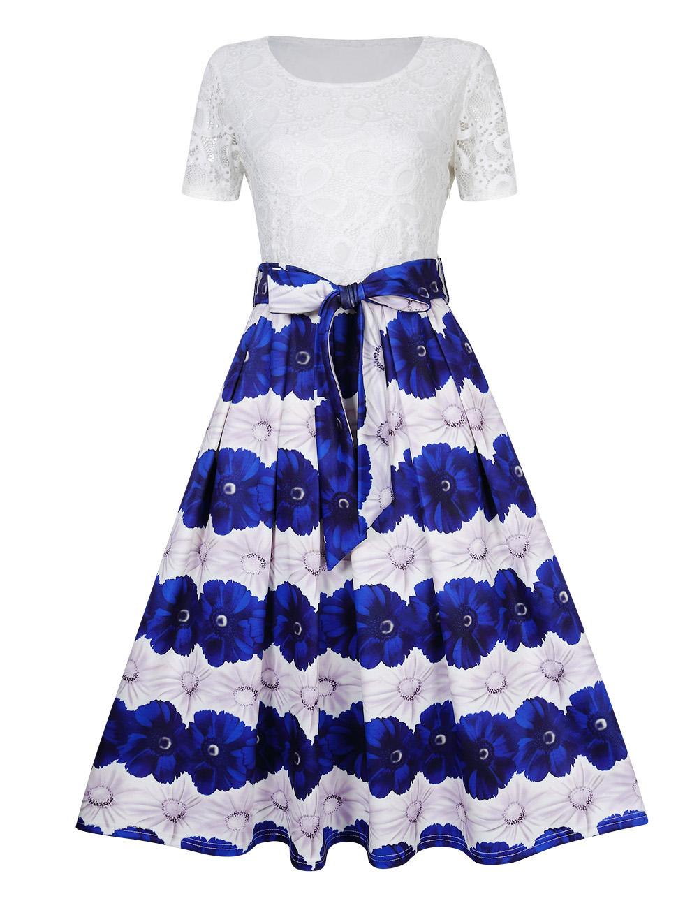 GlorySunshine Women Floral Lace Short Sleeve Modest Swing Dress