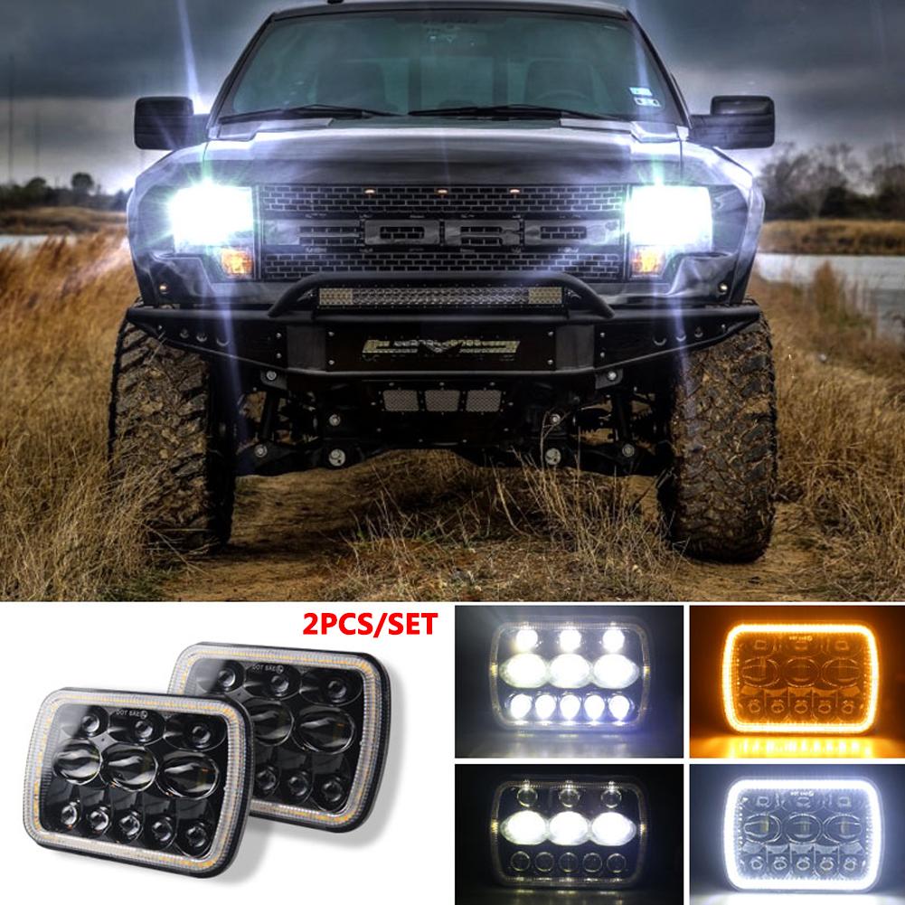 For Jeep Wrangler 500 W 30000LM 7 inch LED Headlights 5X7/7X6 Led Beam Headlamp Led Headlight Angel eyes (three eyes eight beads) with halo