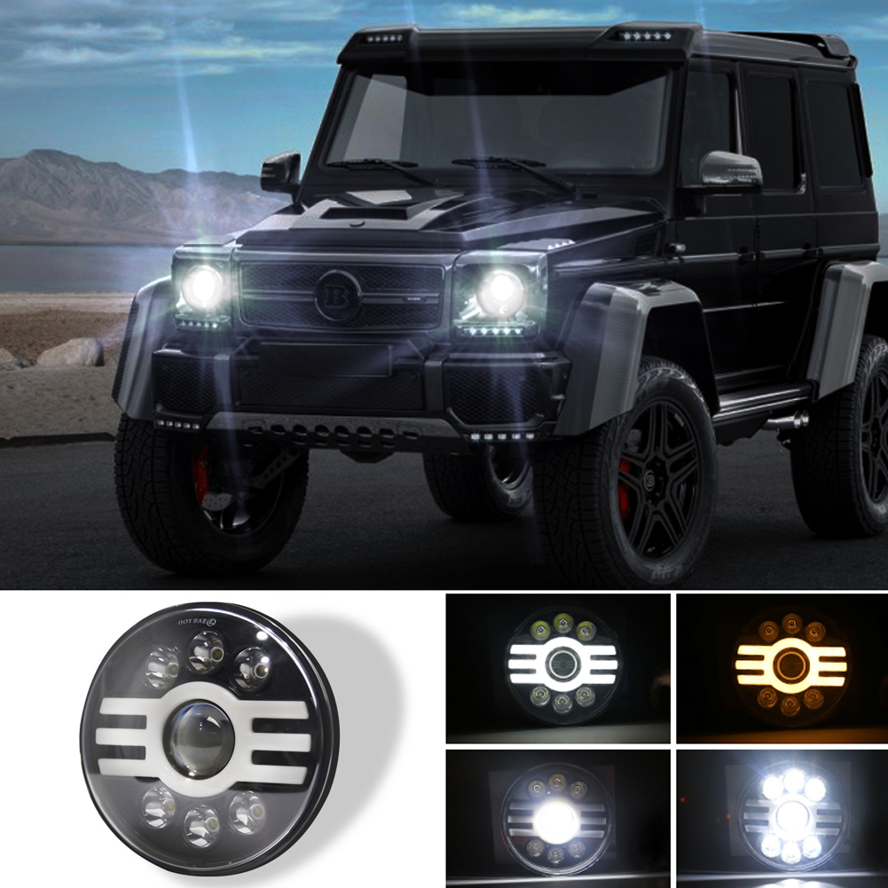 500 W 30000LM 7 inch LED Yellow and White Halo Angel Eye Headlights For Jeep Wrangler Led Beam Headlamp H4/H13 (six beads with lens) H type Led Headlight