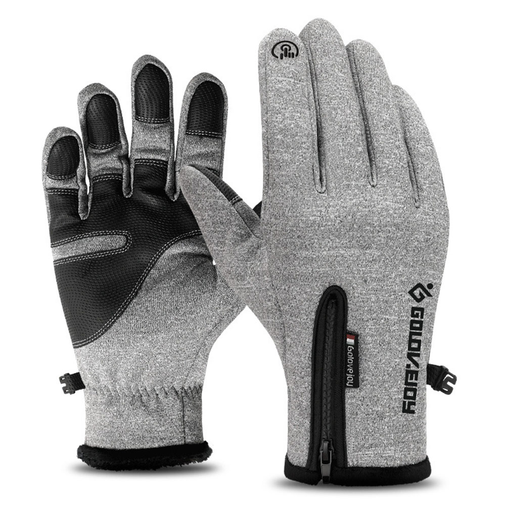 Unisex Outdoor Waterproof Gloves Gray S