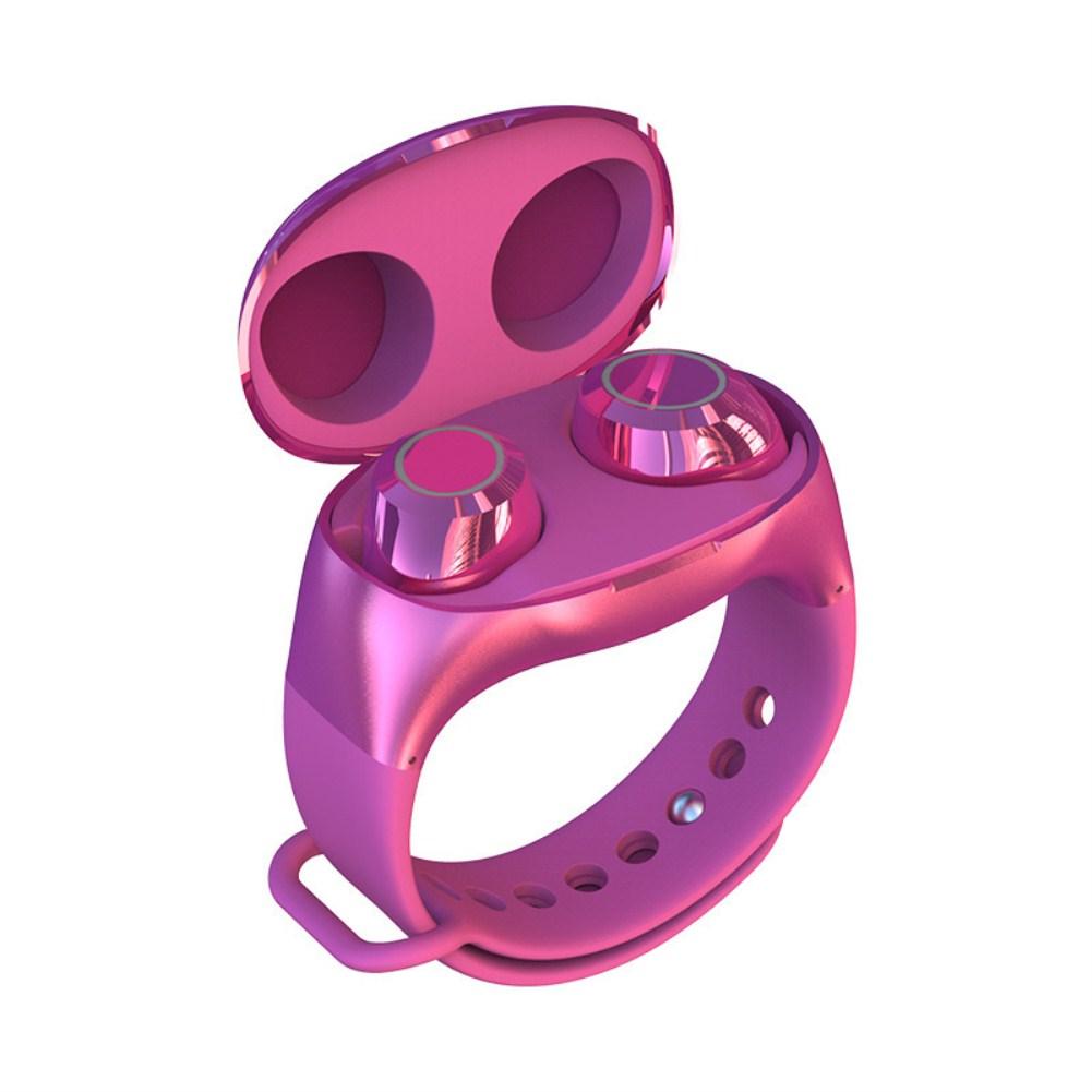HM50 Wrist Wireless Sports Binaural Handsfree TWS Bluetooth Earphone Rose red