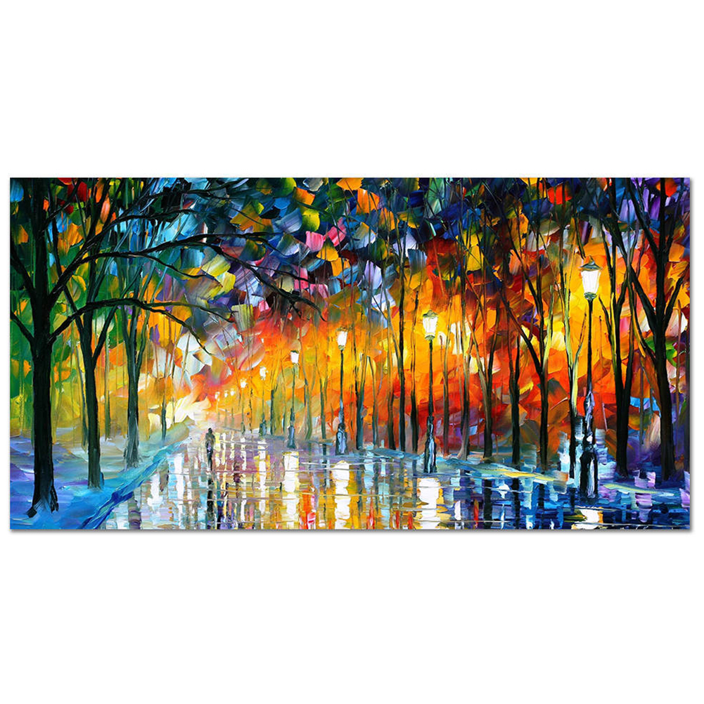 Frameless Street View Oil Painting for Living Room Bedroom Decoration 20x40cm painting core_AA295