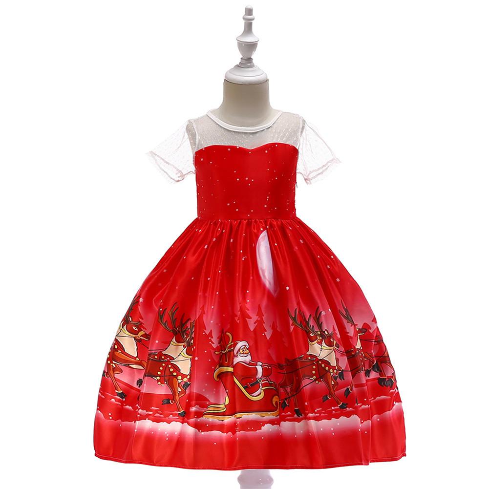 Girls Dress Christmas Short-sleeve Printed Satin Dress for 3-9 Years Old Kids SD045K-red_120cm
