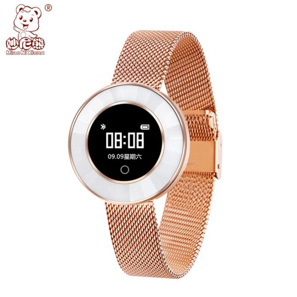New X6 Smart Bracelet Watch Female Fashion Round Screen IP68 Waterproof Sports Step Health Monitoring Gold