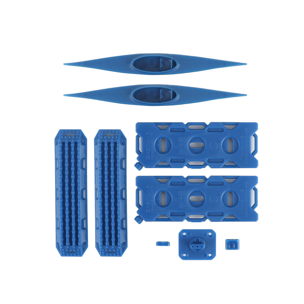 Decoration Sand Ladder Recovery Board+Canoe+Simulation Fuel Tank for 1/10 RC Crawler Car blue
