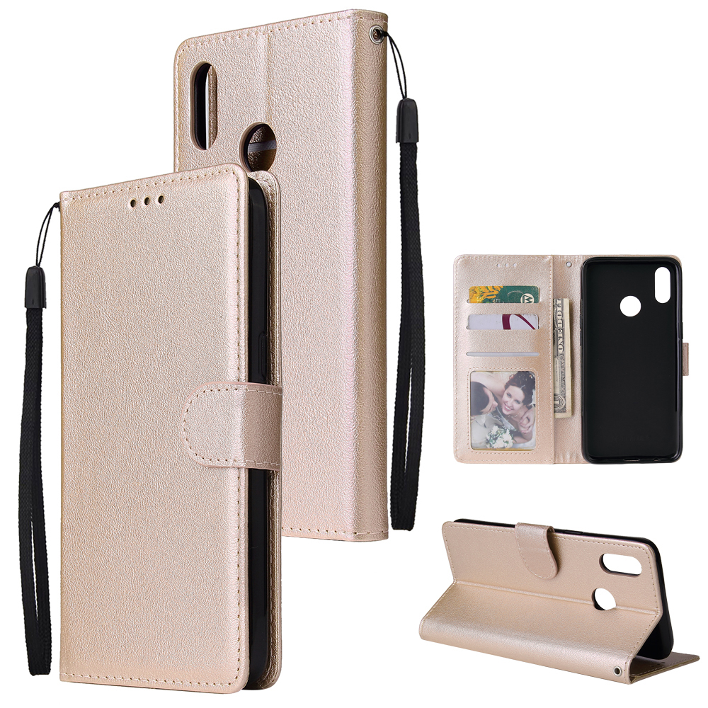For OPPO Realme 3 Wallet-type PU Leather Protective Phone Case with Buckle & 3 Card Position Gold