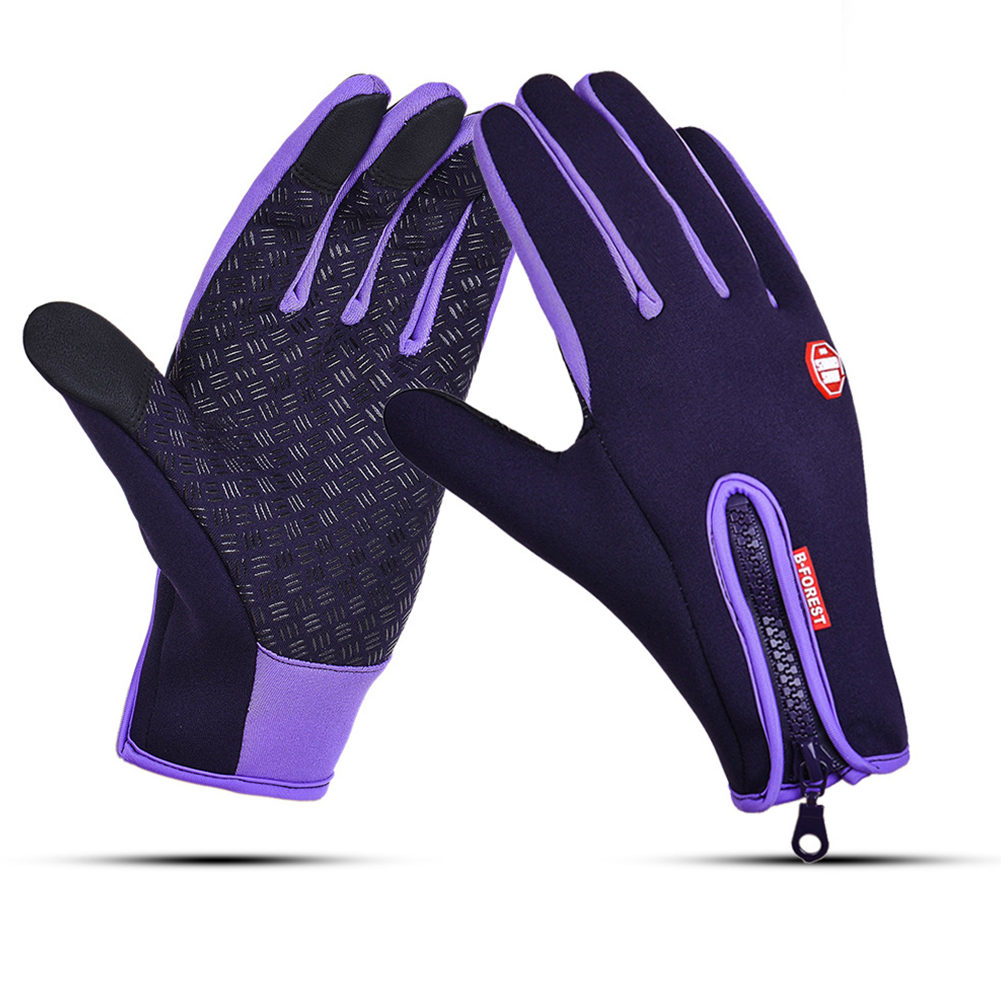 Waterproof Sports Gloves Touch Screen Glove Anti Slip Palm for Driving Cycling Skiing Purple_XL