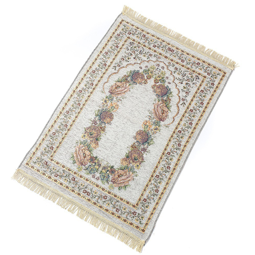 Islamic Pilgrimage Blanket Muslim Prayer Mat Lightweight Thin Carpet Islam Eid Ramadan Gift White_70cm*110cm