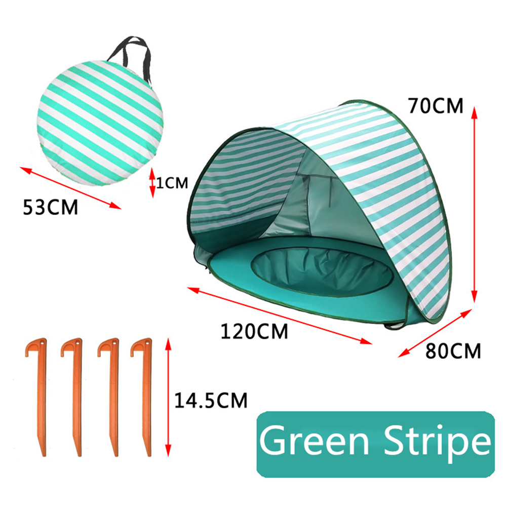 Baby Beach Tent With Pool Waterproof UV Protection Sun Shelter For Kids Outdoor Camping Lake green stripes_120*80*70cm