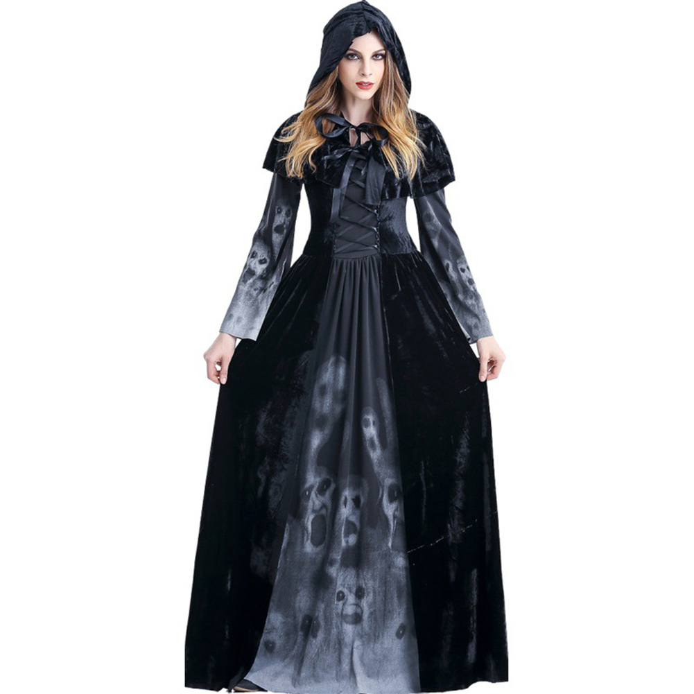 Adult Womens Halloween Scary Witch Cosplay Hoodies Costumes Female Vampire God of Death Grim Reaper Long Dress Party Costumes black_XXL