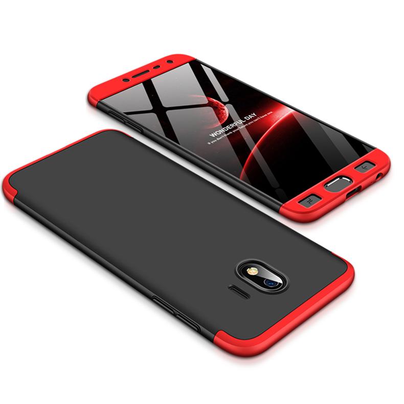 For Samsung J4 2018 Ultra Slim 360 Degree Non-slip Shockproof Full Protective Case Red black red