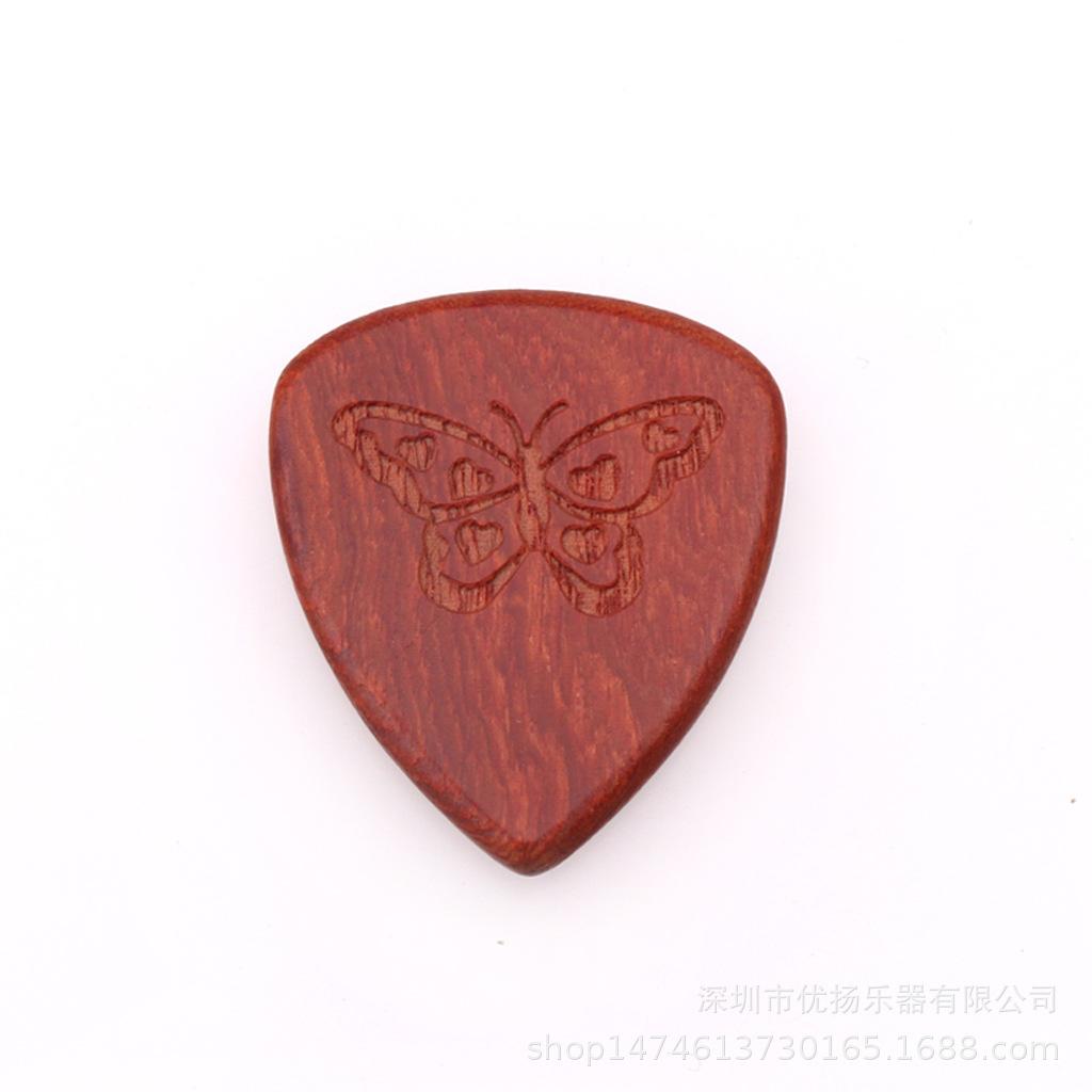 Guitar Picks Plectrum Solid Wood Fingerpicks Musical Instrument Accessories Butterfly 2