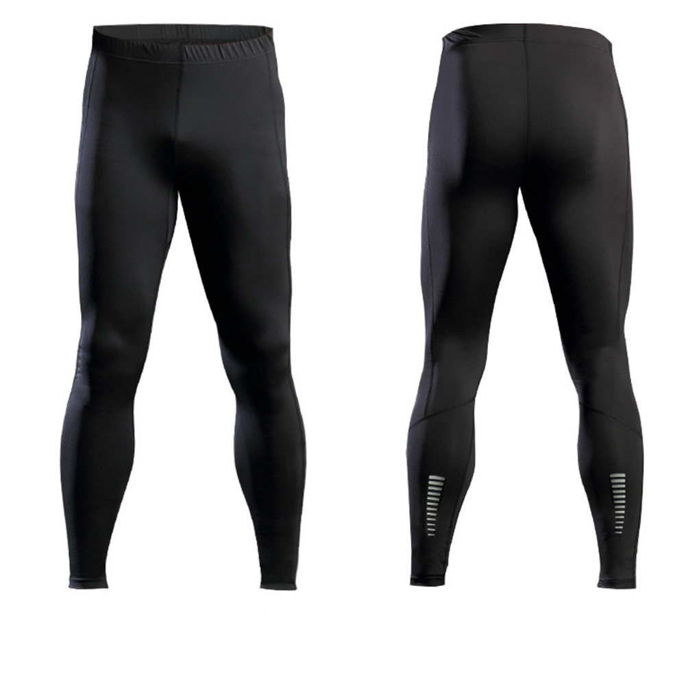 Thermal Casual Pants Men Compression Tights Skinny Leggings Elastic Fitness Male Trousers with Reflective Stripe black_L