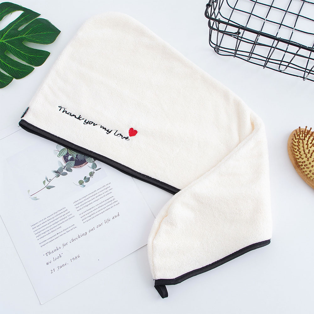 Drying Hair Towel Quick Dry Hair Hat Wrapped Towel Bathing Cap Love black edge_25 * 64cm