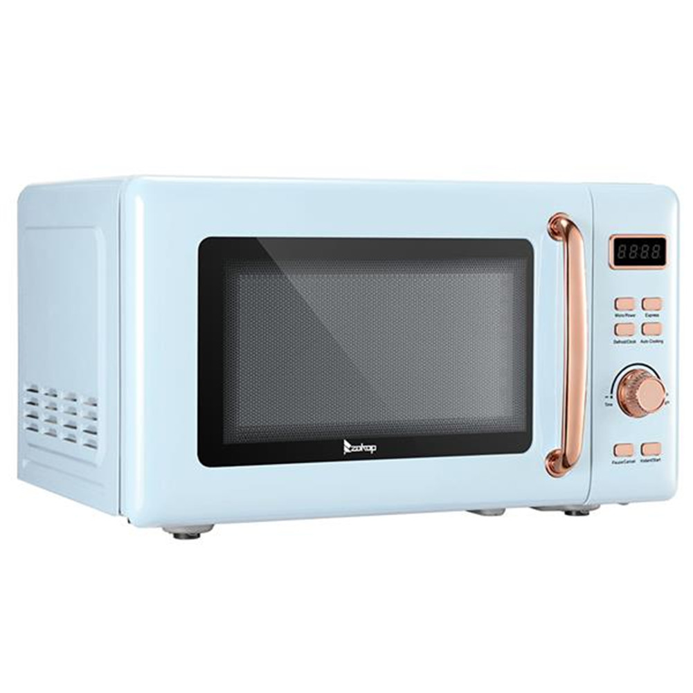 [US Direct] B20uxp52 120v 700w 20l/0.7cu.ft Retro Microwave  Oven With Golden Handle Cold Rolled Plate Display Screen blue