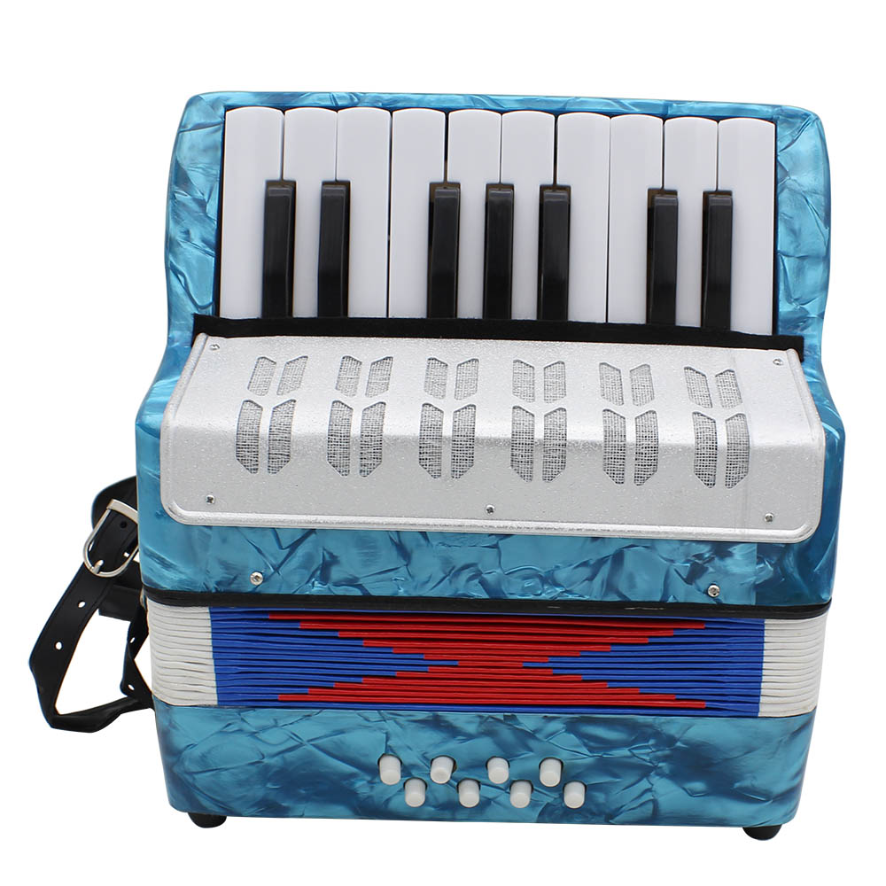 17 Key Professional Mini Accordion Educational Musical Instrument for Both Kids Adult  Light blue
