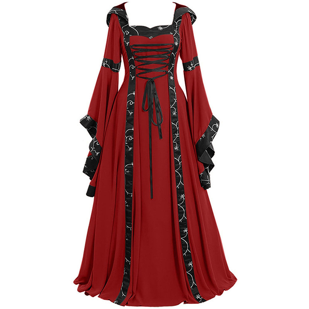 Women Medieval Retro Hooded Dress Square Collar with Trumpet Sleeves Big Swing Dress Halloween Christmas Suit red_S
